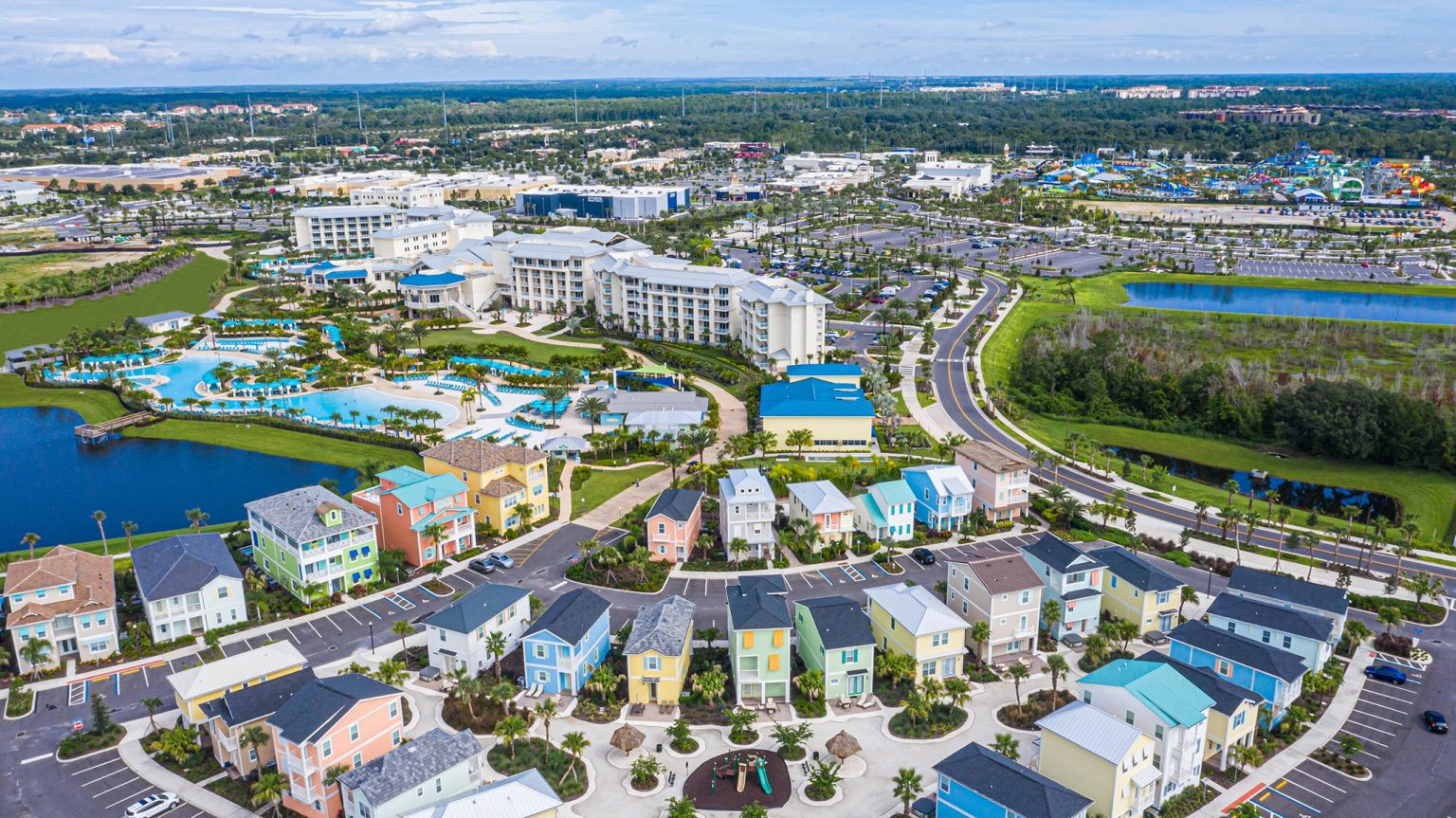 Aerial view of Margaritaville Resort Orlando and Margaritaville Cottages Orlando.