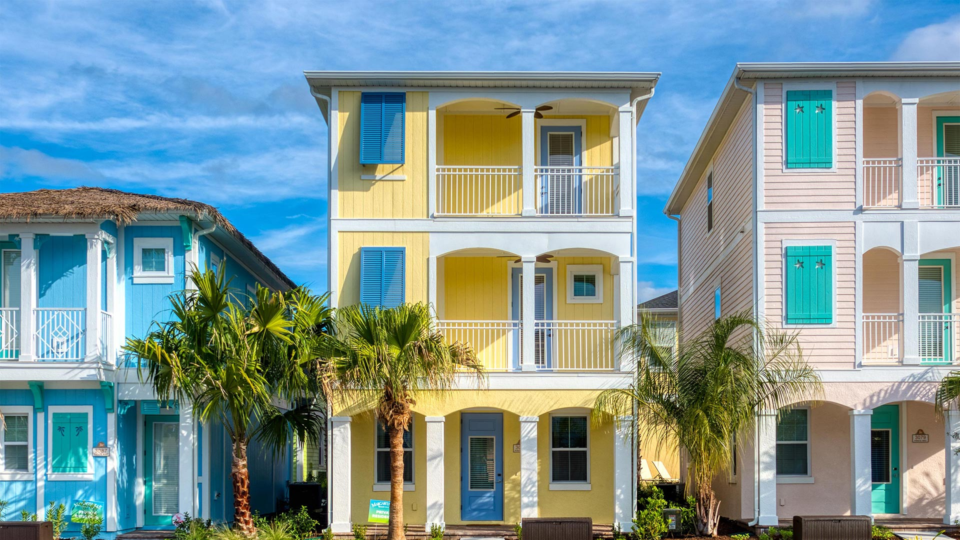Row of colorful homes at Margaritaville Cottages Orlando.